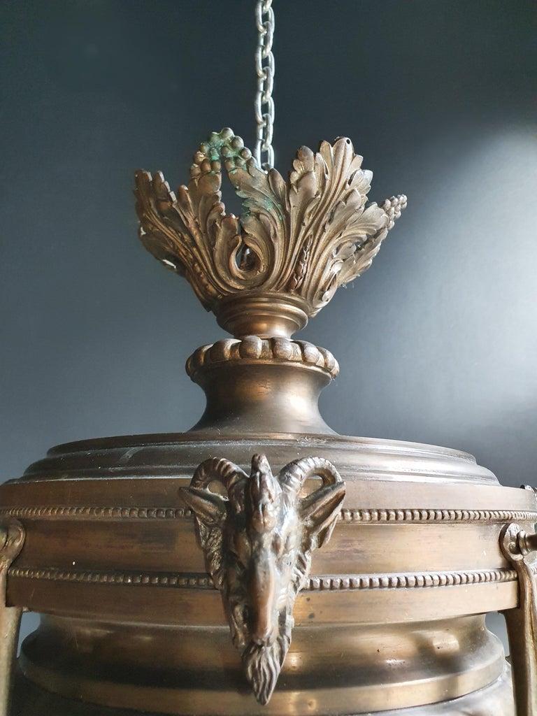 Capricorn Antique Art Nouveau Brass Chandelier Lustre Ceiling Lamp Rarity For Sale 2