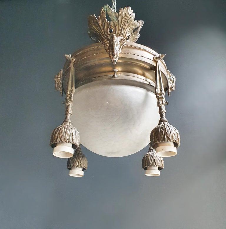 Capricorn Antique Art Nouveau Brass Chandelier Lustre Ceiling Lamp Rarity For Sale 3