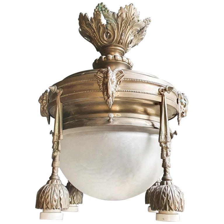 Capricorn Antique Art Nouveau Brass Chandelier Lustre Ceiling Lamp Rarity For Sale