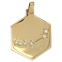 Capricorn Zodiac Constellation Gold Diamond Charm/Pendant