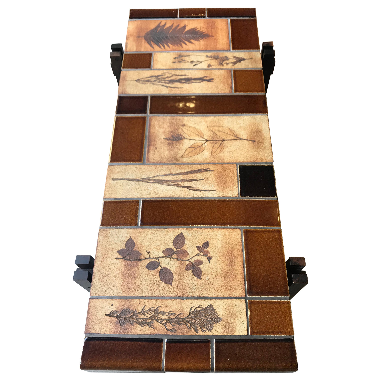 Capron Ceramic Oak Coffee Table Signed