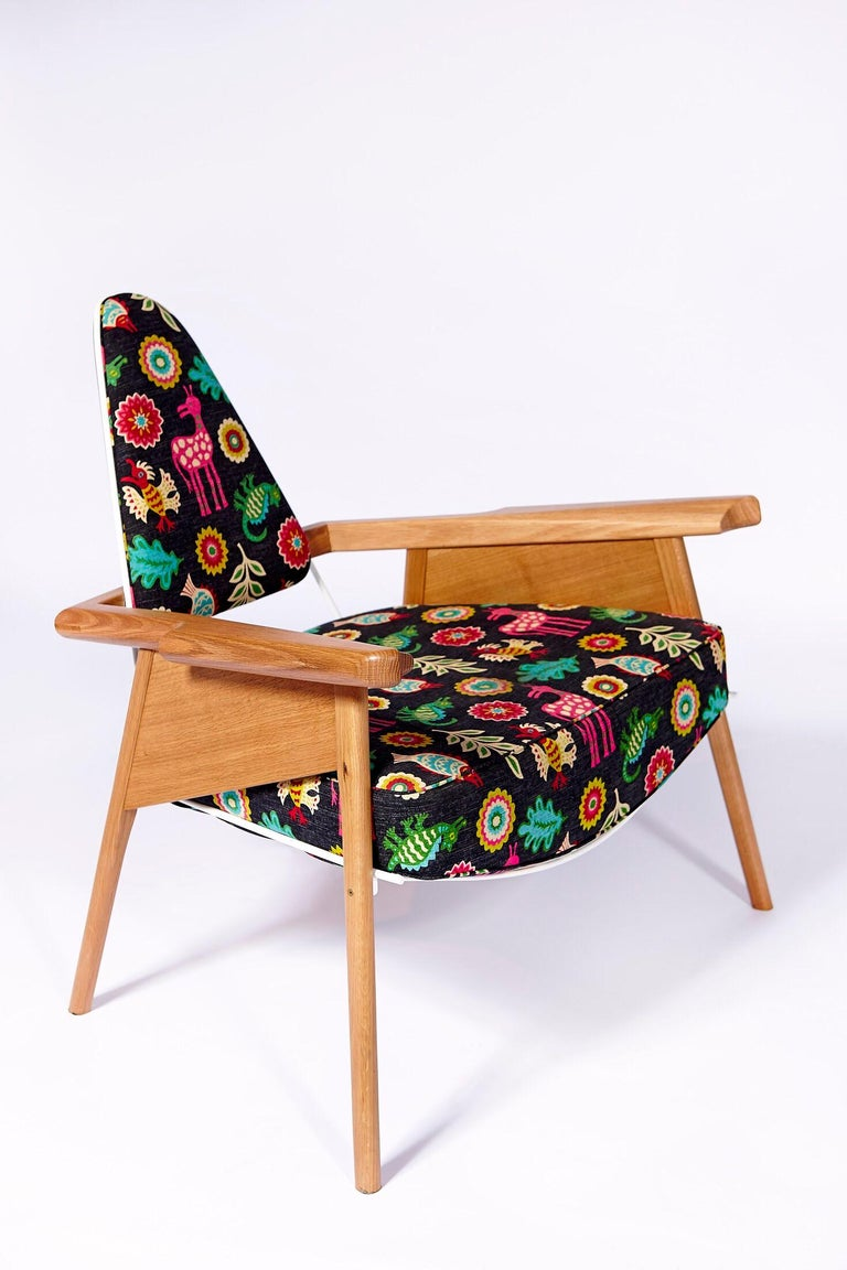 "Contemporary ""Captain's Chair"" Solid Oak, Lacquered Steel, Upholstered Modern Lounge Chair For Sale"