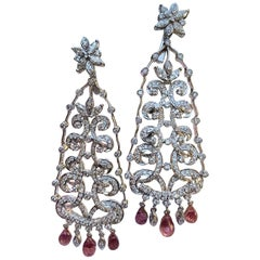Captivating 10.80 Carat Diamond and Pink Sapphire 18 Karat Chandelier Earrings