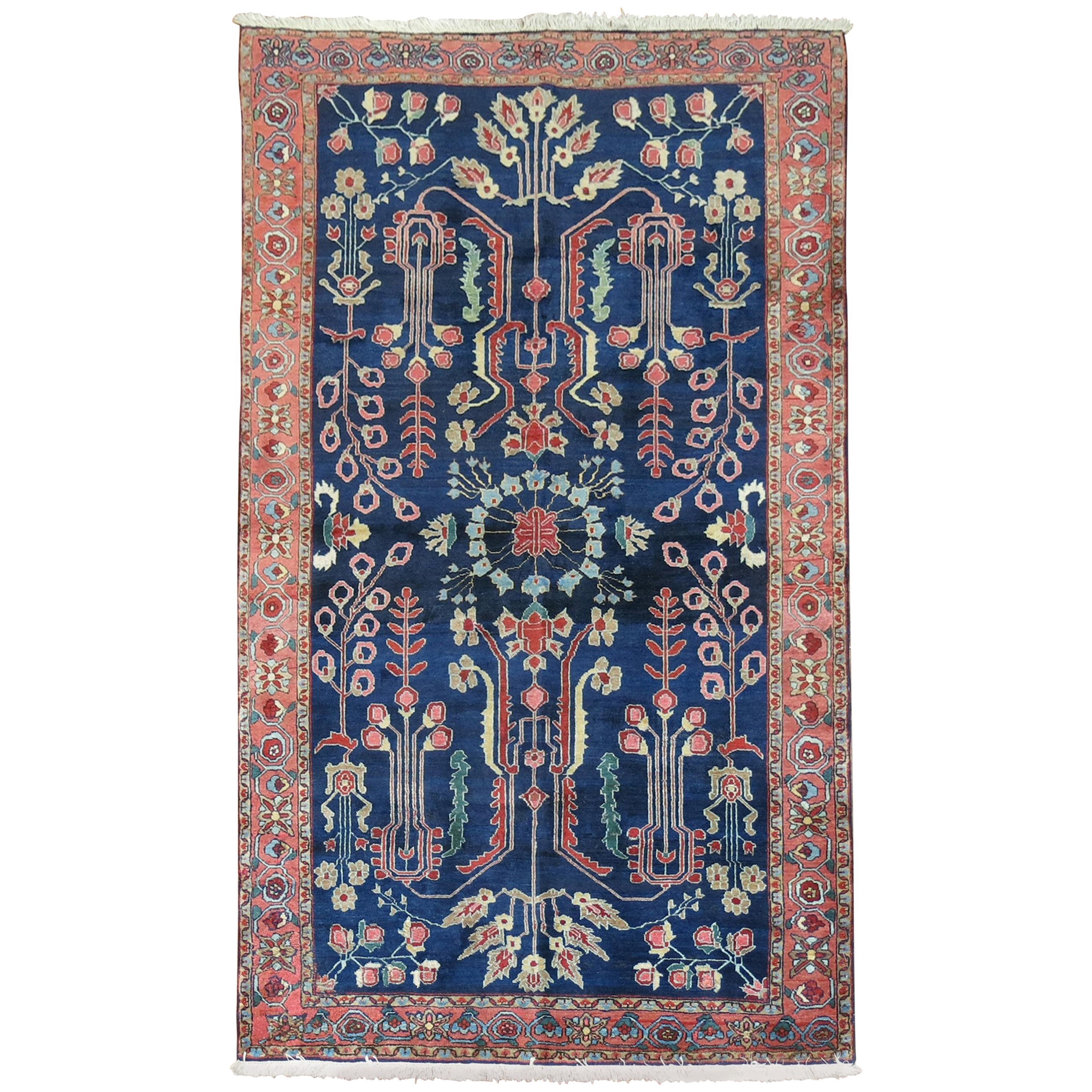 Captivating Navy Blue Persian Sarouk Rug
