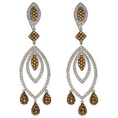 Captivating Orange Sapphire and Diamond Earrings By Chatila