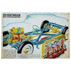 Car and Four Stroke Engine, Vintage Wall Chart