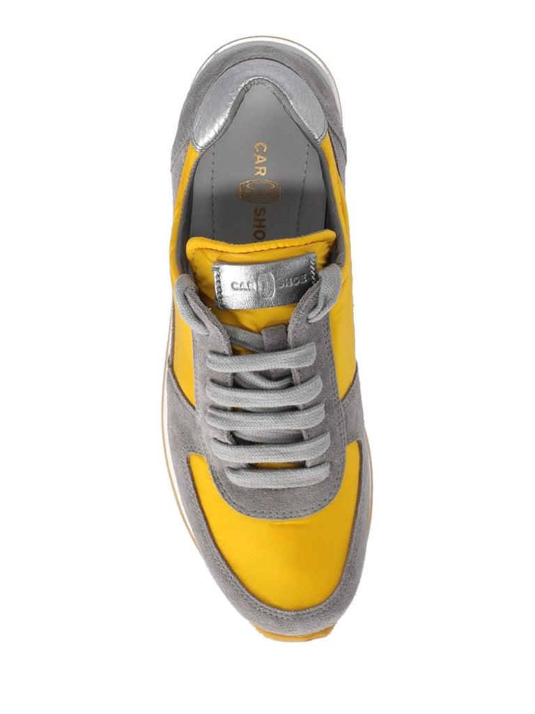 Women's Car Shoe Woman Sneakers Grey Leather IT 35.5 For Sale