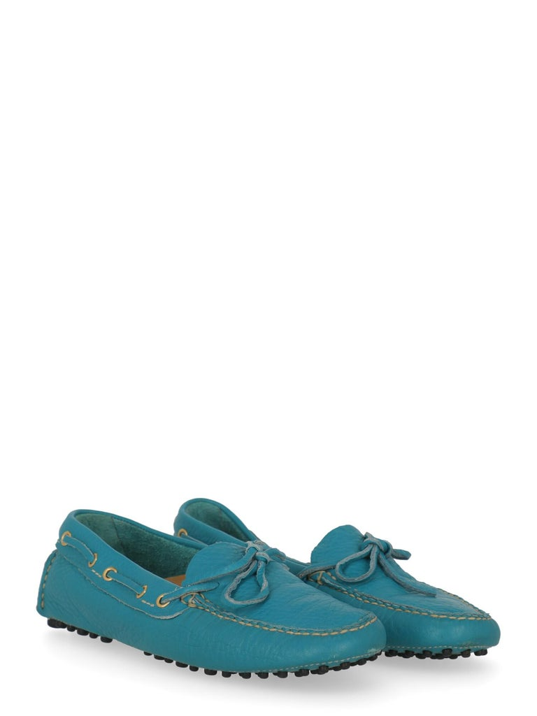 Loafers, leather, solid color, square toe, branded insole, bow detail.  Includes: - Box - Dust bag  Product Condition: Excellent Sole: negligible marks.  Measurements: N/A  Composition: Upper: 100% Leather Sole: 50% Rubber, 50% Leather  Color: