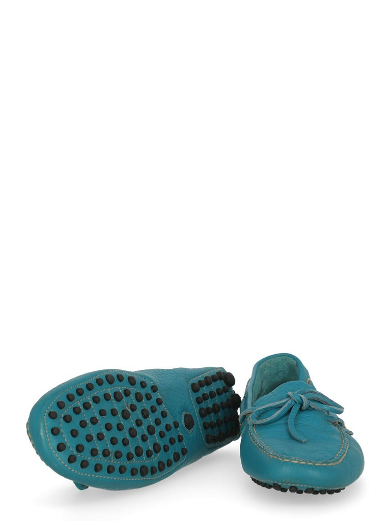 Women's Car Shoe Women  Loafers Blue Leather IT 37.5 For Sale