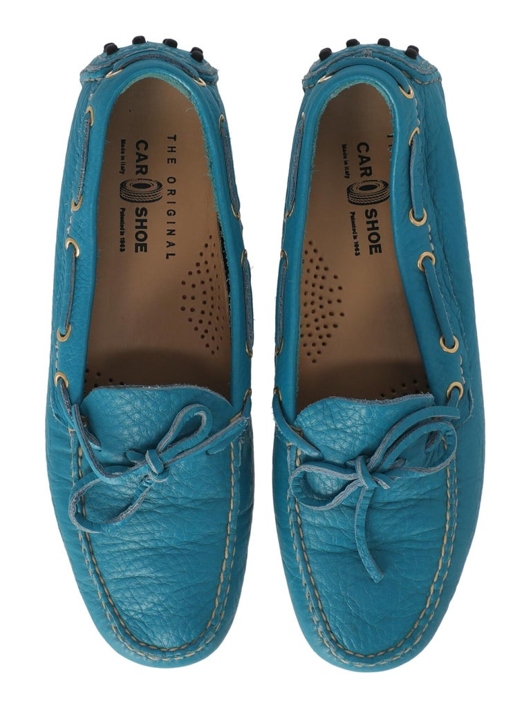Car Shoe Women  Loafers Blue Leather IT 37.5 For Sale 1