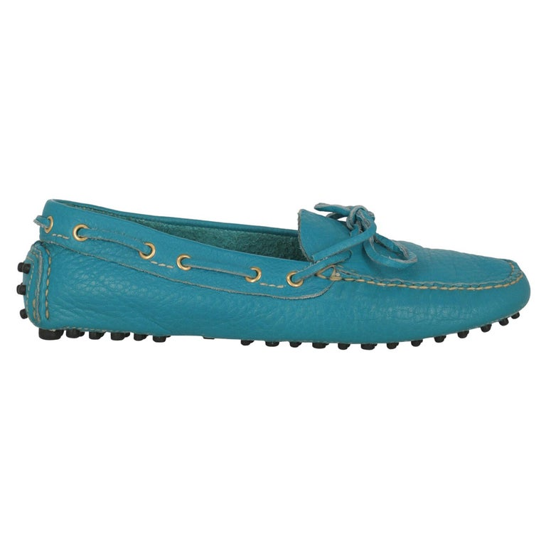 Car Shoe Women  Loafers Blue Leather IT 37.5 For Sale