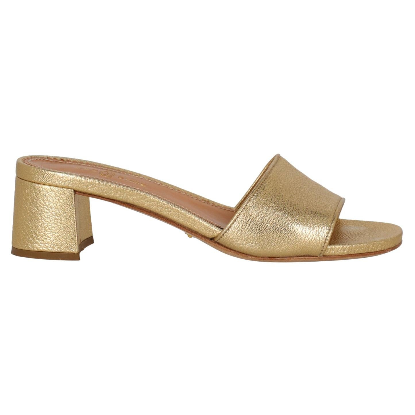 Car Shoe  Women   Sandals  Gold Leather EU 37