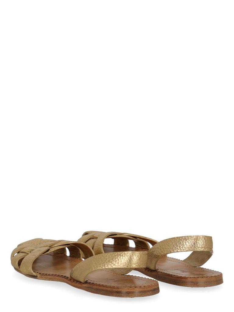 Brown Car Shoe  Women   Slippers  Gold Leather EU 37
