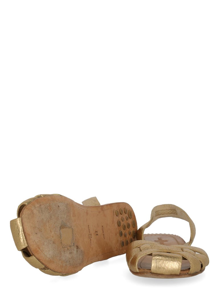 Car Shoe  Women   Slippers  Gold Leather EU 37 In Good Condition In Milan, IT