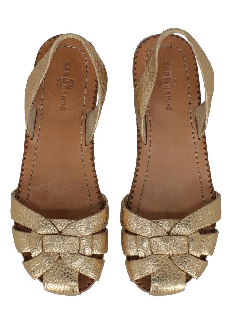 Women's Car Shoe  Women   Slippers  Gold Leather EU 37