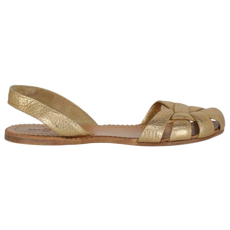 Car Shoe  Women   Slippers  Gold Leather EU 37