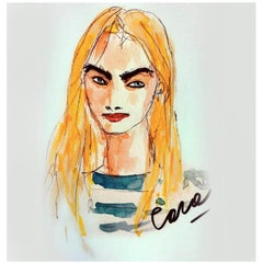 Cara Delevigne, Watercolor on Archival Paper, 2016