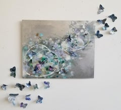 Where'd You Go Karner Blue 3, Butterflies, Dimensional, Recycled materials, Oil