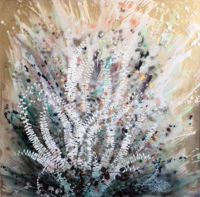 Cara Enteles Landscape Painting - Fern Patch nature on layered plexiglass