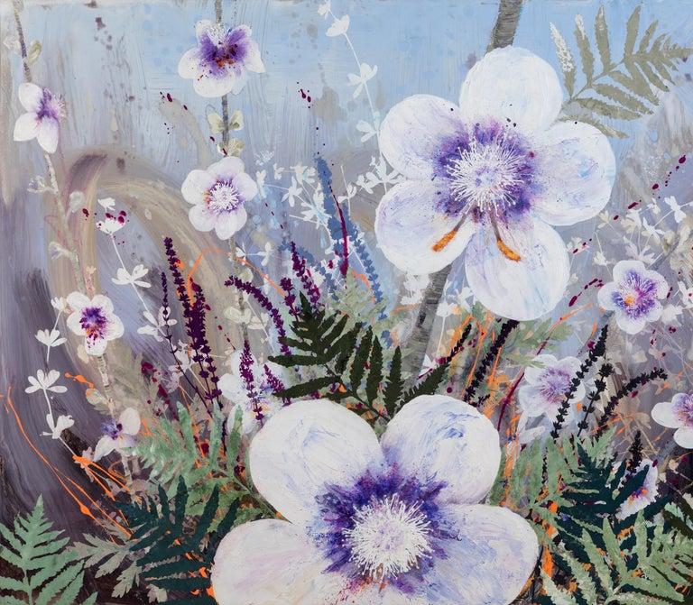 Invasive Beauties floral landscape on aluminum - Painting by Cara Enteles