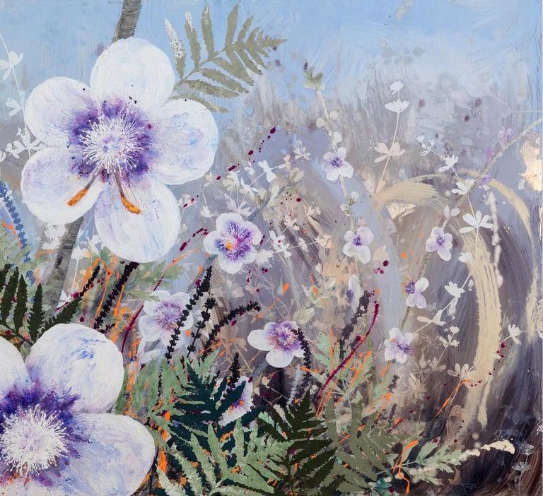 Invasive Beauties floral landscape on aluminum - Contemporary Painting by Cara Enteles