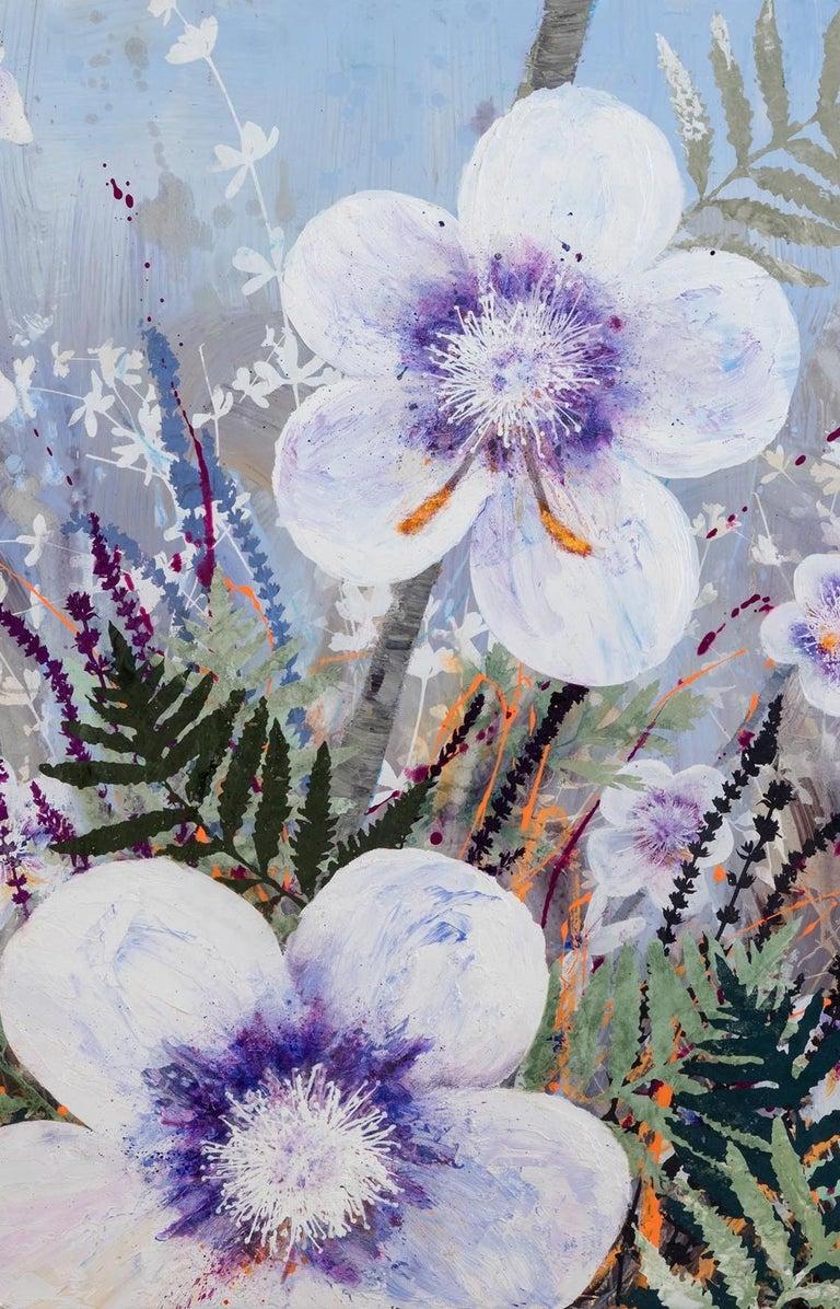 Invasive Beauties floral landscape on aluminum - Gray Landscape Painting by Cara Enteles