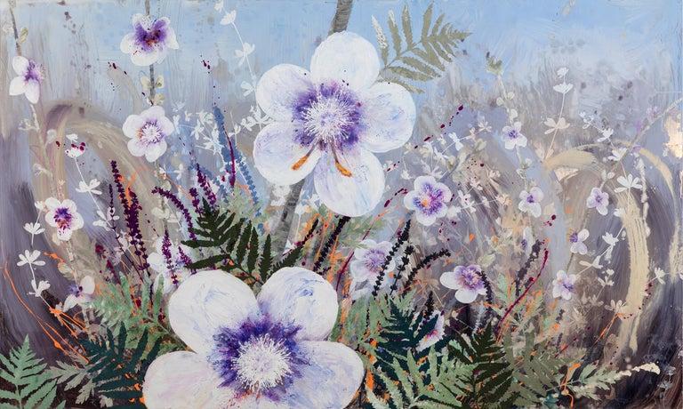 Cara Enteles Landscape Painting - Invasive Beauties floral landscape on aluminum