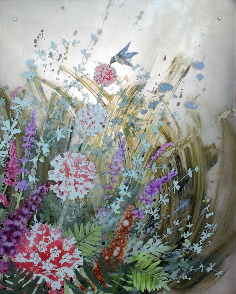 Rufous and Milkweed - Contemporary Mixed Media Art by Cara Enteles