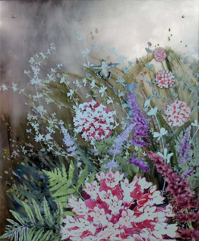 This beautiful floral diptych on acrylic is by Cara Enteles. Her work is motivated by a fascination with nature and a concern for the environment. She splits her time between NYC and rural northeast Pennsylvania, where she keeps a large organic