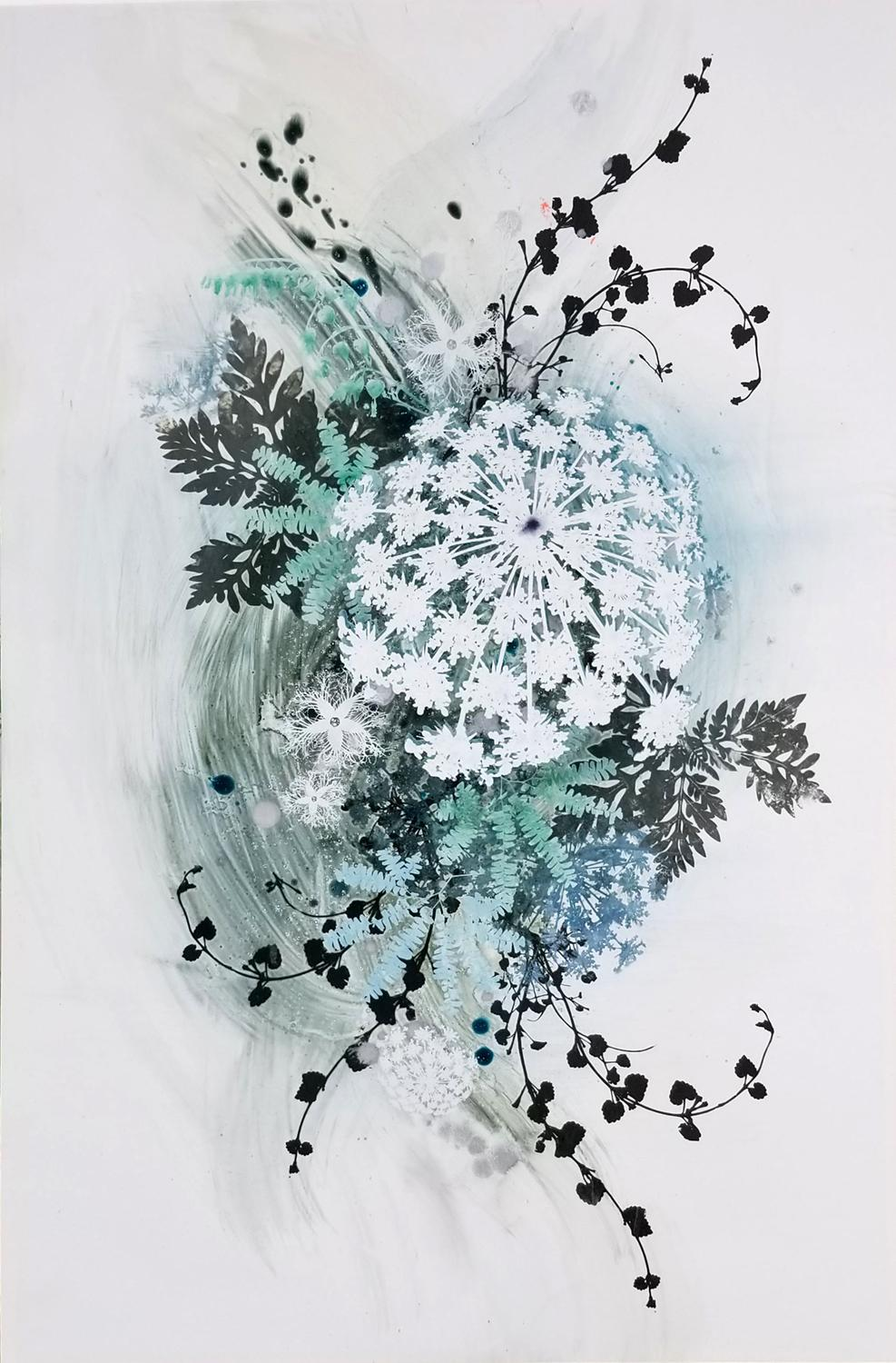 Seen in Passing 7 - botanical graphic teal and white oil and silkscreen painting