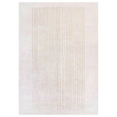 Caracas, Beige Striped Hand Knotted Wool Silk Rug