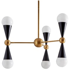 Caracas Black and Brass Six-Light Chandelier