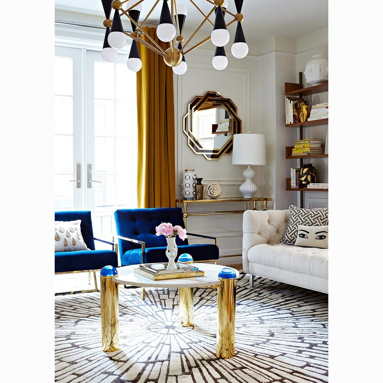 American Caracas Black and Brass Sixteen-Light Chandelier For Sale