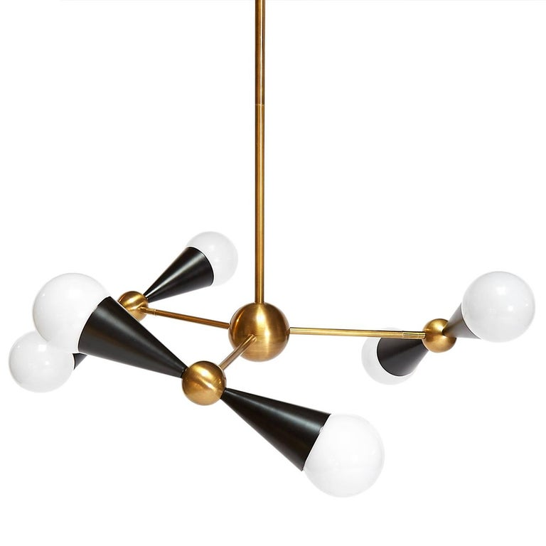 Modern Caracas Ivory and Brass Six-Light Chandelier For Sale