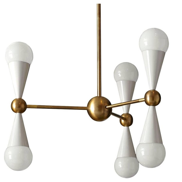 Caracas Ivory and Brass Six-Light Chandelier For Sale