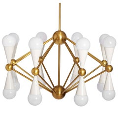 Caracas Ivory and Brass Sixteen-Light Chandelier