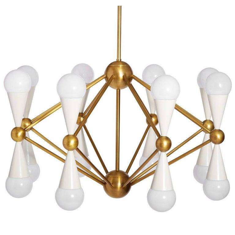 Caracas Ivory and Brass Sixteen-Light Chandelier