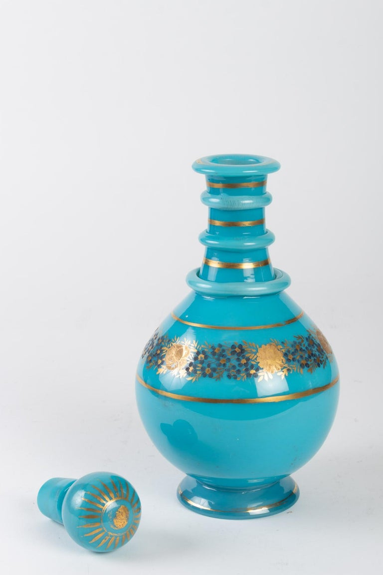 European Carafe in Turquoise Blue Opaline For Sale
