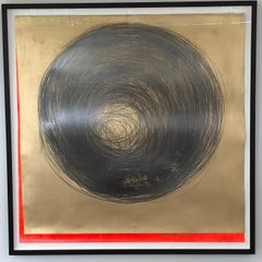 Carali McCall, Work no. 1 (Circle Drawing) Gold / Neon Red, 2018