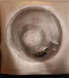 Carali McCall, Work no. 1 (Circle Drawing) Silver / Blue, 2018