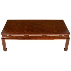 Caramel Lacquered Chinese Cocktail Table with Geometric Pattern