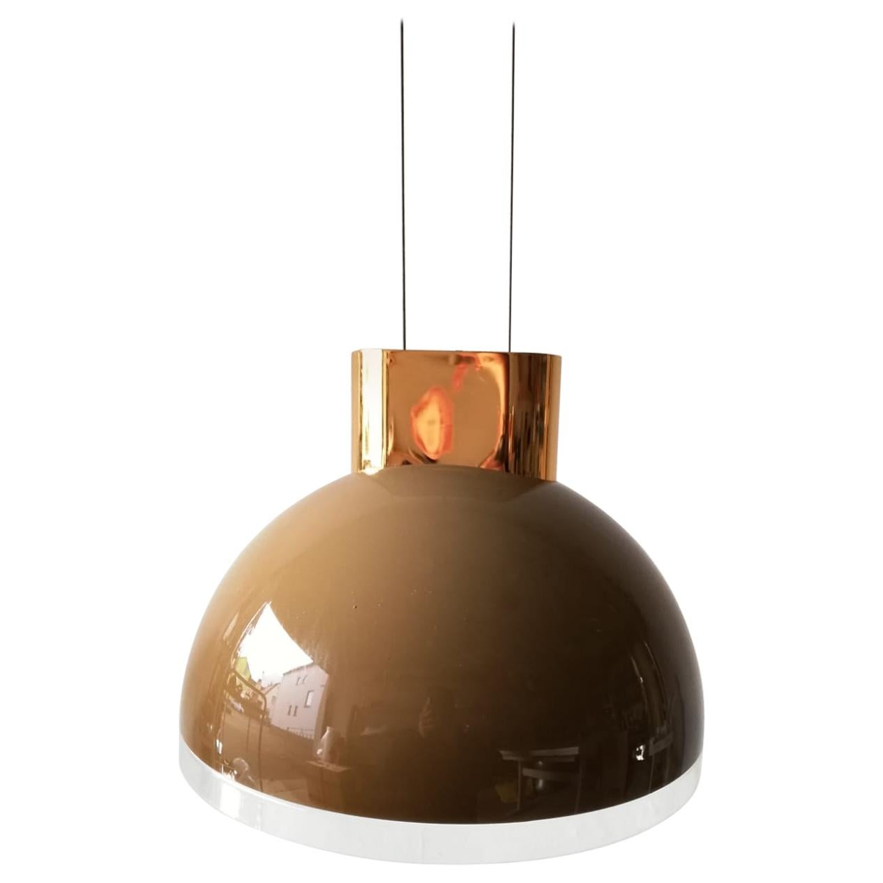 Caramel Round Glass Pendant Lamp by Staff, 1980s Germany