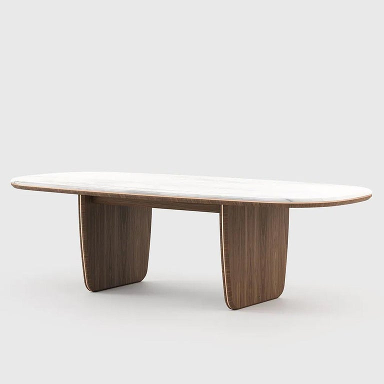 Dining table Carara with structure in walnut wood