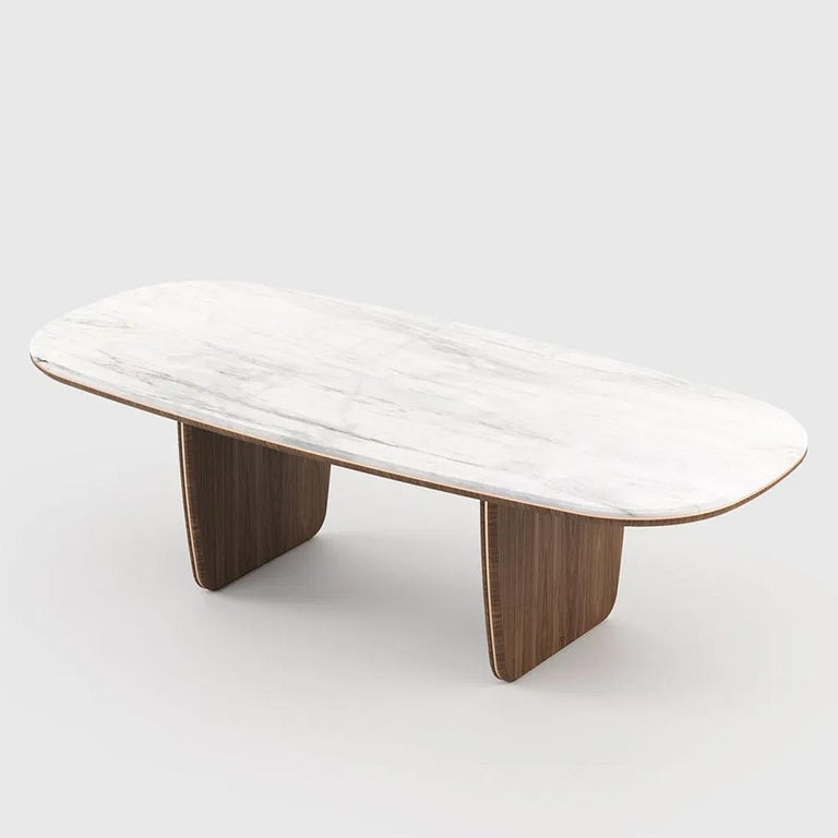 Hand-Crafted Carara Dining Table For Sale