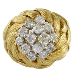 White Diamonds Yellow Gold Cluster Ring