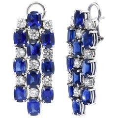 Carat Gem Lab Certified, 18 Kt 21.42 ct Sapphires, 5.09 ct Diamonds, Earrings