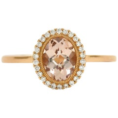 ON HOLD Carat Oval Morganite Rose Gold Diamond Gem Engagement Ring