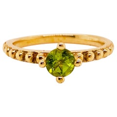 Carat Peridot Solitaire Beaded Band Ring in 14 Karat Yellow Gold, August B Stone