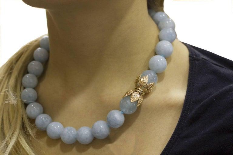 Aquamarine Rose Gold Choker Necklace For Sale 5