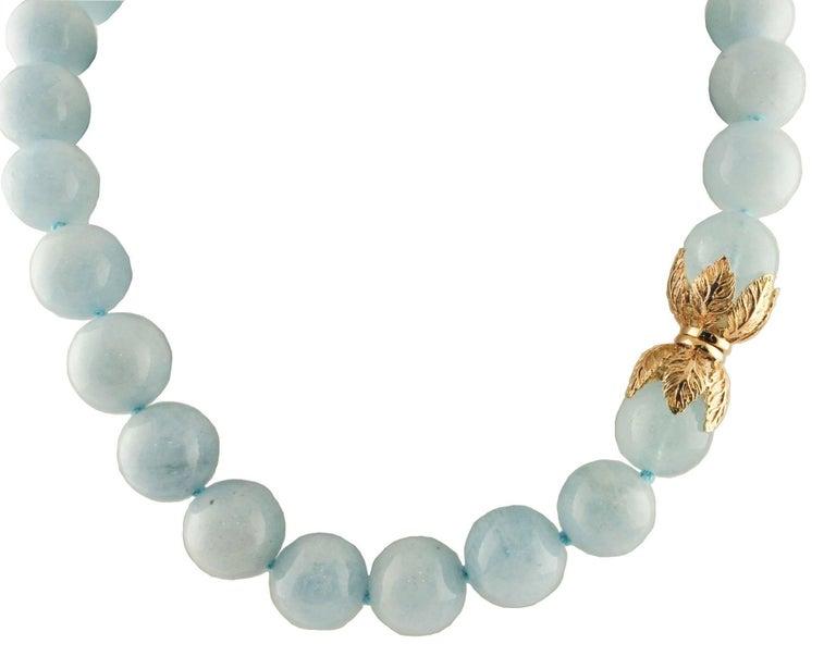 Women's Aquamarine Rose Gold Choker Necklace For Sale